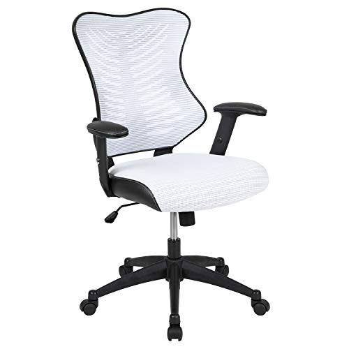 Flash Furniture High Back Designer White Mesh Executive Swivel Ergonomic Office Chair with Adjustable Arms