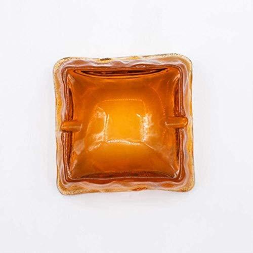 Cenicero Creatividad Vidrio Cocina Cocina Ashtray Office Ashtray Creativo Cristal Hammer Patrón Vidrio Simple Sala de Estar 9.5x4cm WHLONG (Color : Amber)