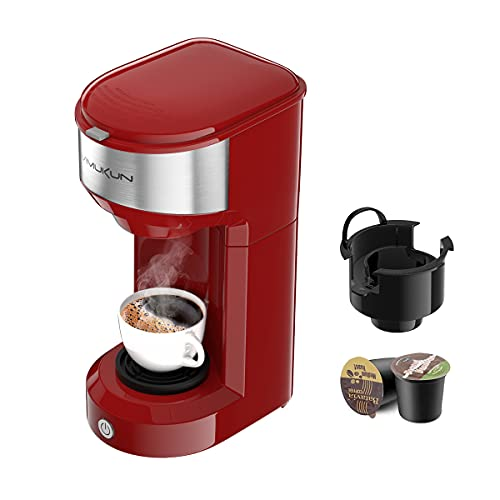 Single Serve Coffee Maker Coffee Brewer for K-Cup Single Cup Capsule and Ground Coffee, Single Cup Coffee Makers with 6 to 14oz Reservoir, Mini Size (Red)