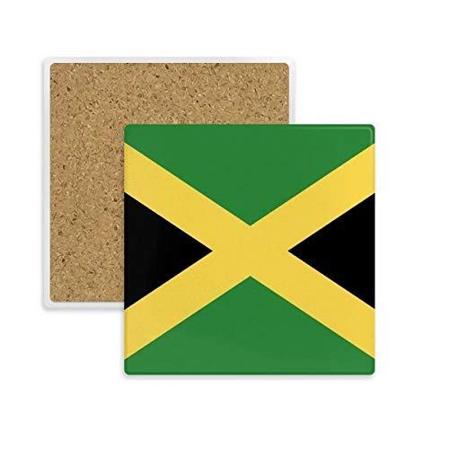 Jamaika National Flagge North America Country eckig Untersetzer Tasse Halter saugfähig Stein für Getränke 2Geschenk