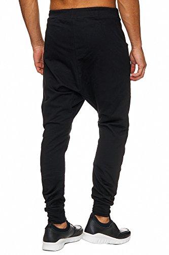 Megastyl Herren Harem Jogging-Hose Biker Style Slim-Fit mit Reißverschluss Grau Blau Khaki Oliv Schwarz, Farbe:Schwarz, Größe:S