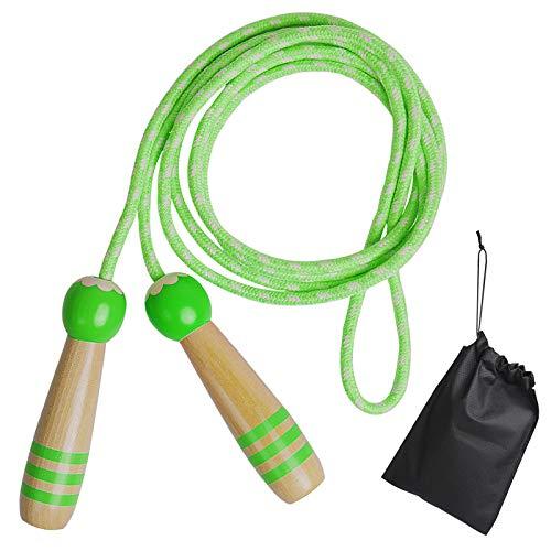 IEMY Springseil Kinder Verstellbare, Holzgriff Einstellbar Baumwolle Seilspringen Kids für Jungen und Mädchen, Sport Training Fitness Spiel Rope Skipping Seil (Grün)