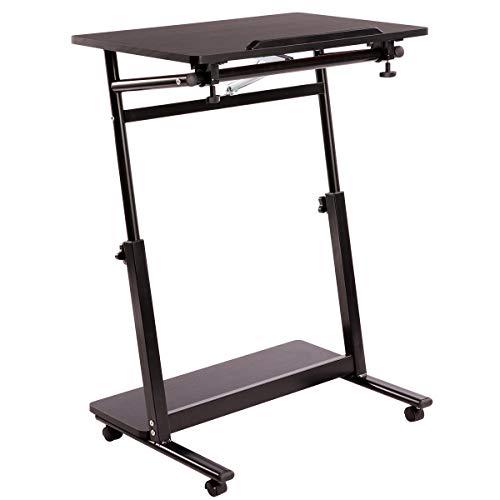 AGTEK - Mesa de ordenador portátil con ruedas, escritorio de pie para ordenador, soporte ajustable para portátil, mesa lateral, color negro