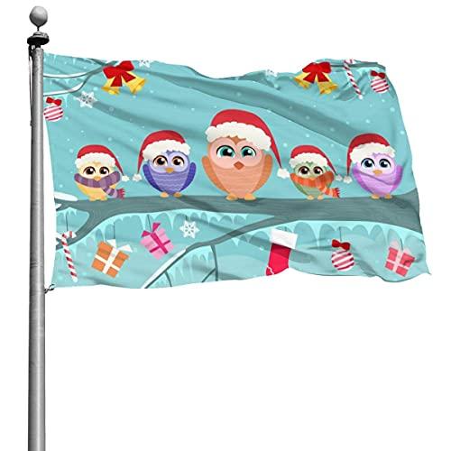 Familia de búhos navideños sentada como pequeños elfos de Noel Bandera de animales 4x6 pies Bandera decorativa al aire libre Bandera estándar colgante exterior