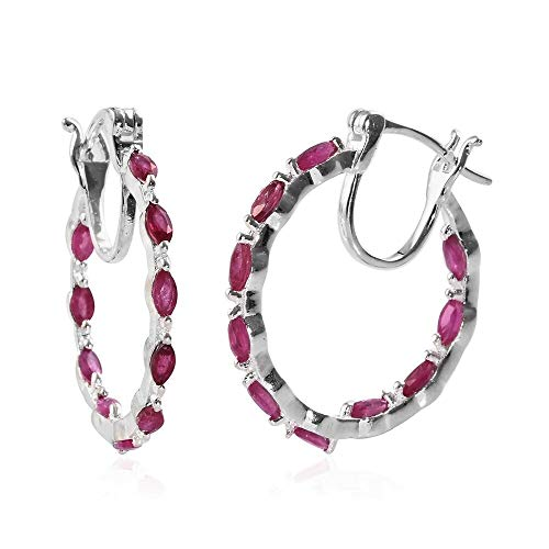 TJC African Ruby Hoop Earrings for Women in 925 Sterling Silver Lovely Birthday Valentines Day Gift 2.25 Ct