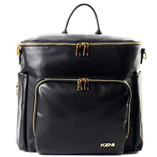 Mochila de piel para pañales, bolsa de viaje para pañales, bolsa de pañales para parrillas, mamá, bolsa de pañales con percha para cochecito, bolsillos térmicos,resistente al agua, grande,negro