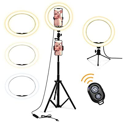 """10"""" Selfie Ring Light,with Tripod Stand and Phone Holder,Dimmable Led Ring Light for Live Stream/Makeup/YouTube Video/Camera Photography,Beauty Fill Ring Light Compatible for Phone iPhone Android"""