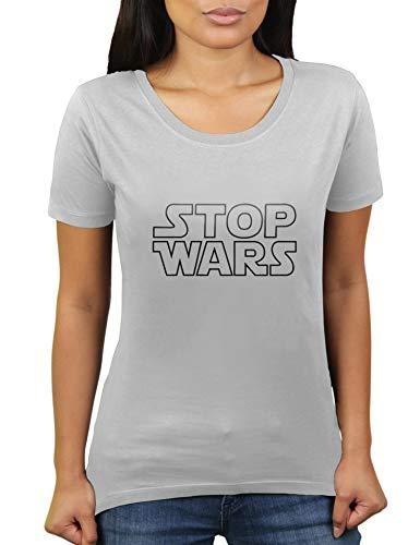 Stop Wars - Damen T-Shirt von KaterLikoli, Gr. M, Light Gray