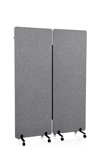 hjh OFFICE Mobile Akustik Trennwand 2er Set 177 x 60 cm FLEXMIUT Stoff Dunkelgrau Raumteiler mit Rollen & Gleiter 891006