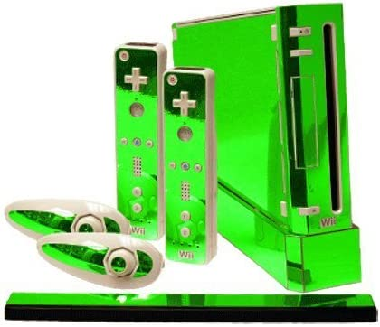 Lime Chrome Mirror Vinyl Decal Faceplate Mod Skin Kit for Nintendo Wii Console by System Skins