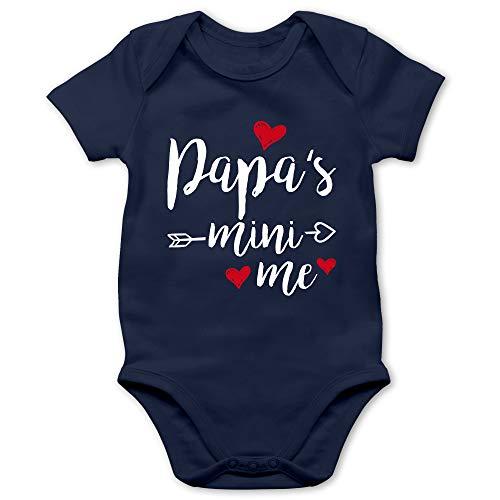 Shirtracer Vatertagsgeschenk Tochter & Sohn Baby - Papas Mini Me - 1/3 Monate - Navy Blau - Vatertag Body - BZ10 - Baby Body Kurzarm für Jungen und Mädchen