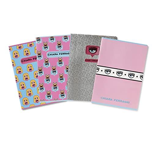 Maxi Quaderni Chiara Ferragni x Pigna, f.to A4, assortimento soggetti mix Rosa/Azzurro, Confezione 5 Quaderni
