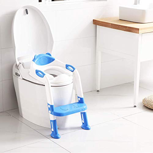 Potty Training Seat with Step Stool Ladder,SKYROKU Potty Training Toilet for Kids Boys Girls Toddlers-Comfortable Safe Potty Seat with Anti-Slip Pads Ladder (Navy Blue)