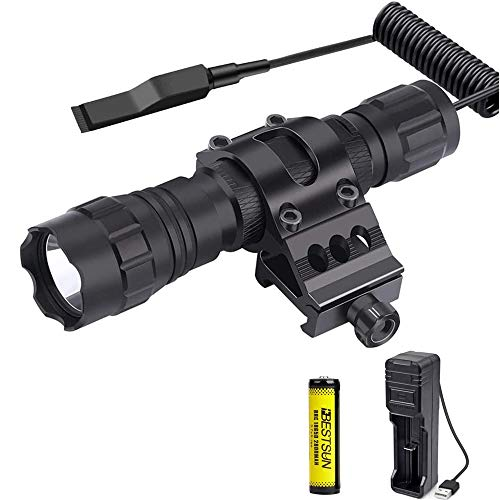 Torcia tattica super luminosa, torcia a LED nero opaco da 1300 lumen con supporto Picatinny Torcia impermeabile monomodale pressostato incluso, batterie ricaricabili