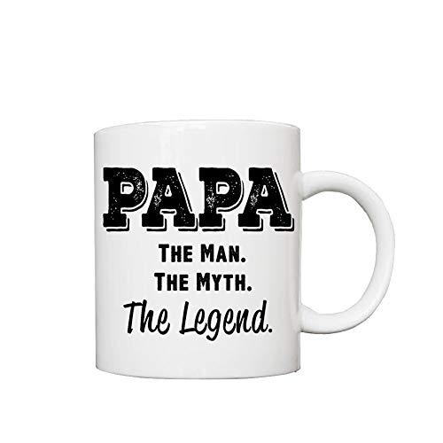 Taza de cerámica divertida para café, té, papá el hombre el mito de 12 onzas, impresa en ambos lados, para sus hombres, mujeres, oficina, papá, mamá, niños, regalos de cumpleaños personalizados