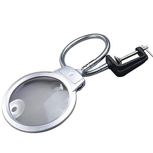 CKQ-KQ Bureau Glas met LED-licht, 2X 2.5x Grote Tweepersoonskamer HD Lenses 130mm Hands Free Magnifier met klem for reparatie Carving Workbench antieke juwelen Identificatie
