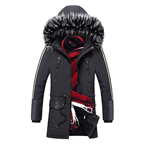 KUYG Herren wasserdichte Skijacke Plüsch Winter Verdickter Schneemantel Warme Kapuze Strickjacke Windbreaker Outwear mit Reißverschluss