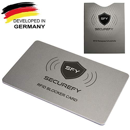 SECUREFY® | RFID NFC Blocker Karte | Hochwertige NFC Schutzkarte | Gratis RFID Reisepassschutzhülle | elektromagnetischer Störsender | Keine nervigen EC Karten Schutzhüllen mehr | Schutz 13.56 MHz