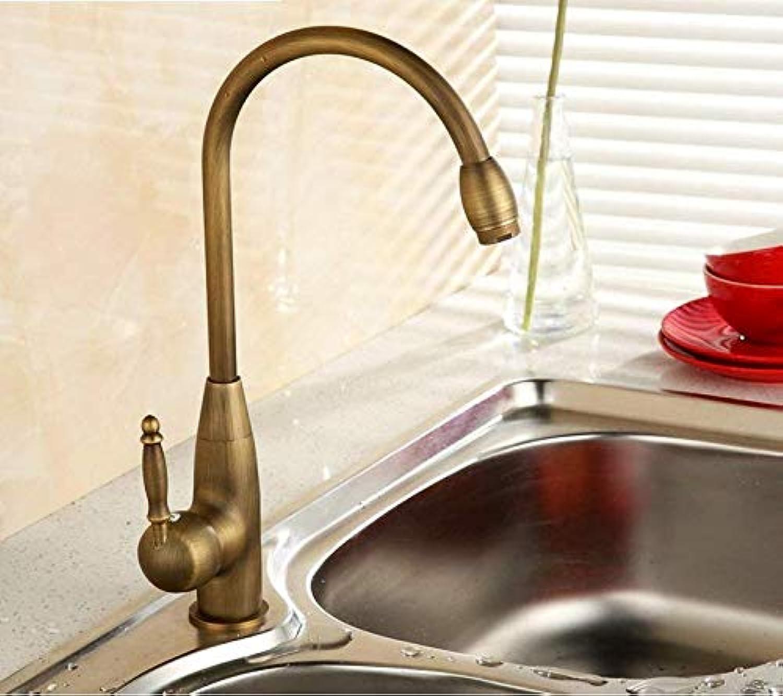 360° Drehbar Wasserhahn Küchenarmatur Alle Kupfer Antiken Küchenarmatur Warmen Und Kalten Gemüse Becken Wasserhahn Drehbare Waschbecken Wasserhahn Loch-A (Farbe  -, Gre  -)