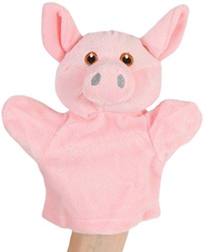 alles-meine.de GmbH Handpuppe / Handspielpuppe -  lustiges Schwein  - Gesicht aufwendig aufgestickt - für Babys & Kleinkinder - Arme beweglich - superweich - ab Geburt - Handpu..
