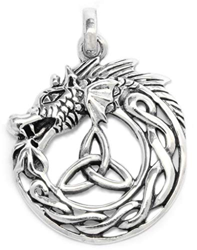 WINDALF Pagan Drachen-Anhänger BRAÍGH 3.2 cm Vikings Midgardschlange 925 Sterling-Silber