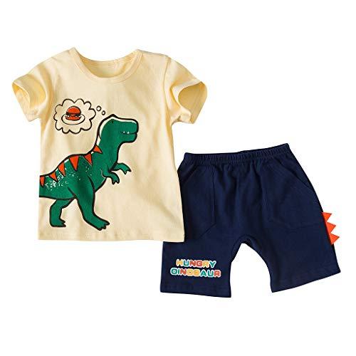 SIN vimklo Baby Kid Girl Boy Cotton Clothing Sets Dinosaur Short Sleeve T-Shirt Holiday Summer Blouse Outfits Yellow