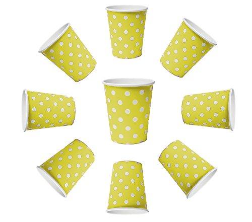 50 x Tasse de 200 ml Dots Jaune points, gobelets en carton pour boissons chaudes et froides des collations des boissons (Jaune)