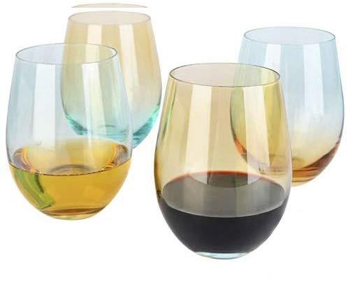 [4-Pack, 535ml/18oz] DESIGN·MASTER - Copas de Vino sin Tallo de Colores, Tendencias de Moda 2020, Ideales para Vino Tinto y Blanco, Cócteles, Agua y Regalos para Fiestas.(Amarillo Claro & Azul)