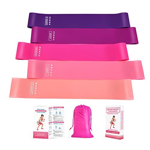 Bandas de resistencia para piernas y glúteos, resistentes y antideslizantes, suaves, juego de 5 bandas de entrenamiento con bolsa transpirable para estirar