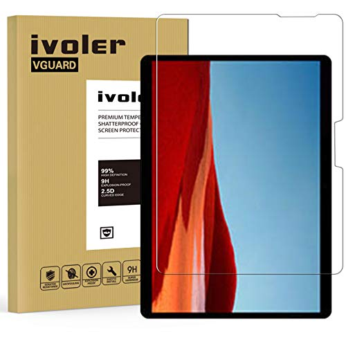 ivoler Screen Protector for Microsoft Surface Pro X 13 inches, Tempered Glass Film for Microsoft Surface Pro X 13 inches, [9H Hardness] [Anti-Scratch] [Bubble Free] [Crystal Clear]