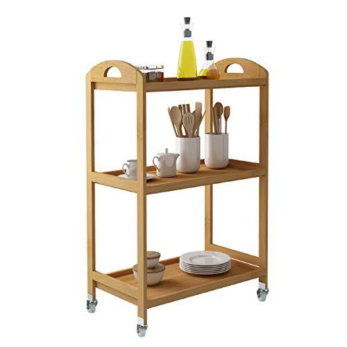 SogesHome Einkaufstrolley mit 3 Etagen aus Bambus Abschließbare Rollen Küchenregal multifunktionale Küche Regal Speicherwagen 60 * 32.5 * 79.5 cm,KS-ZC-06-SH