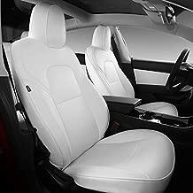 Xipoo for Tesla Model 3 Car Seat Cover PU Leather Cover All Season Protection for Tesla Model 3 2017 2018 2019 2020 2021 (White, 11 Pcs)