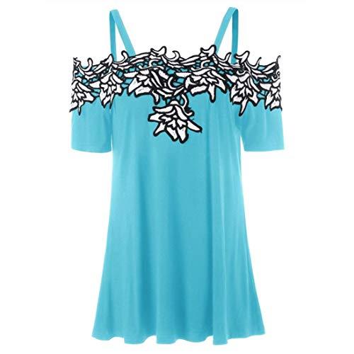 Targogo Damskie topy moda lato koronka krótki festiwal rękaw łączenie moda Carmen bluzka luźna wypoczynek bez ramion koszule T-shirt bluzki