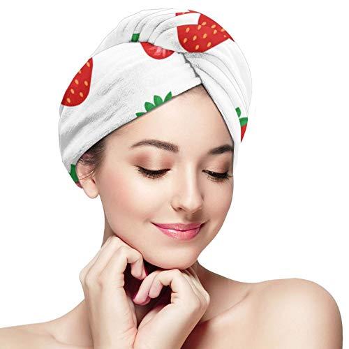 Toalla de pelo de microfibra abrigo de fresa turbante de pelo toalla súper absorbente rápido secado gorras sombrero