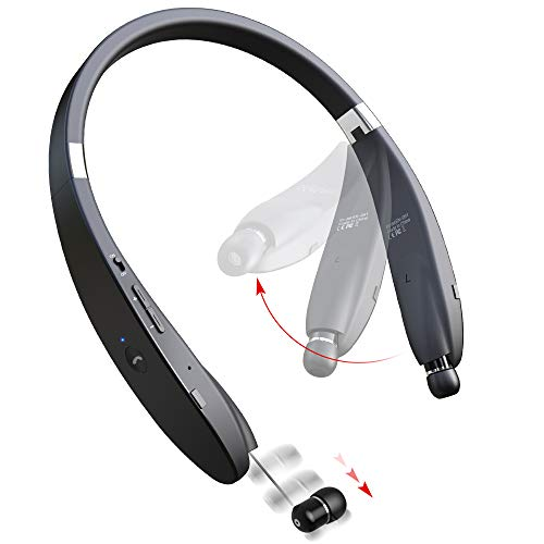 Bluetooth Headphones Wireless Neckband Headset - Sweatproof Foldable Earphones with Mic, Retractable...