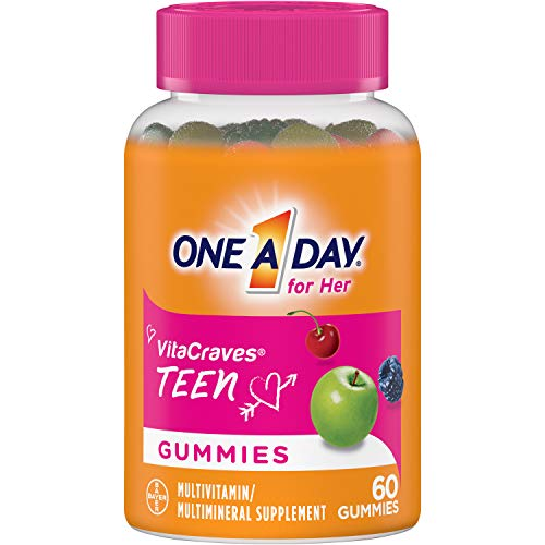 One A Day Teen for Her Multivitamin Gummies, Supplement with Vitamin A, Vitamin C, Vitamin D, Vitamin E and Zinc for Immune Health Support* & more, 60 Count