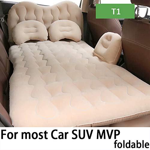 QCCQC Foldable car inflatable mattress in the back row of the car automatic inflatable bed air cushion camping travel Air mattress,Beige,T1