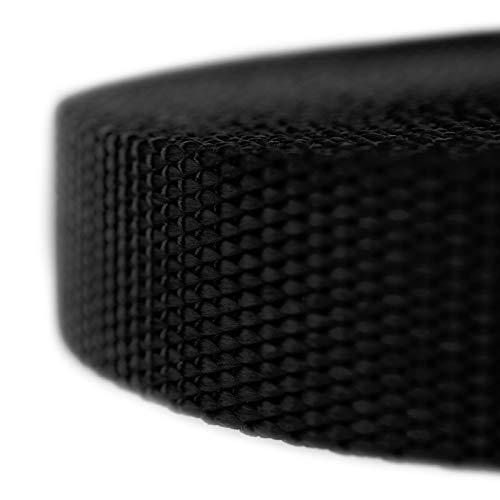 10 Yards instrainclug Bluecell 1 Inch Wide Black Nylon Heavy Webbing Strap
