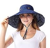 iHomey Sombrero de Sol Extraíble con Borde Grande para Gorra Sombrero de Cubo Solar Reversible de Playa UPF 50+