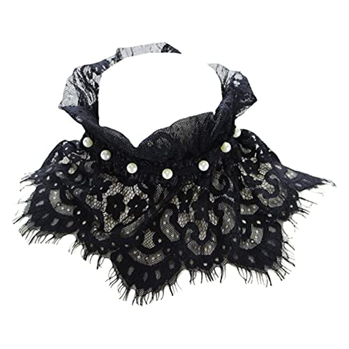 XHBL Ruffles Plisados Stand Fake Collar Collar Corte Corte Collar GOKER (Color : Black)