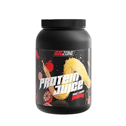 Big Zone Protein Juice Multivitamin | Protein Whey Isolat | Erfrischungsgetränk Charakter und Konsistenz | Hoher Proteingehalt | Eiweisspulver niedrige Zucker- & Fettwerte | 1000g
