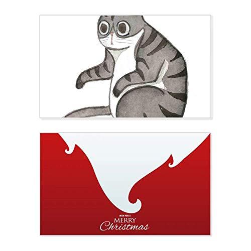 Miaoji Schilderij Draak-Li aquarel kat vakantie vrolijke kerstkaart Kerstmis Vintage bericht