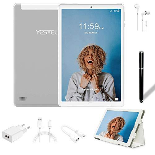 Tablet 10.1 Pulgadas YESTEL Android 8.1 Tablets con 3GB RAM & 32GB ROM y 4G LTE Dual SIM Call, 5.0 MP + 8.0 MP HD la Cámara y 8000mAH-Plata……