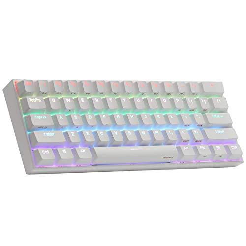 MFFZHJ Teclado mecánico programable ANNE PRO 2 60% RGB retroiluminado teclado para juegos con teclas PBT, 61 teclas Bluetooth cableado/teclado inalámbrico para ordenador portátil WIN/Mac