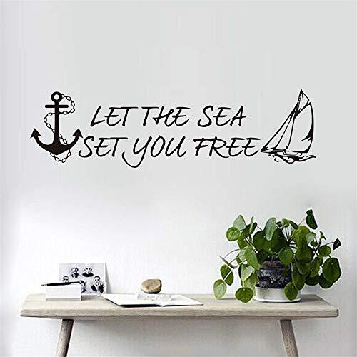 wandaufkleber Lassen Sie das Meer Sie frei setzen Anker Buchstaben Segelboot Wohnzimmer Modern Home Decor