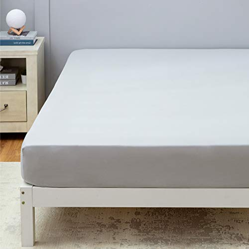 BEDSURE hoeslaken 140x200 cm - hoeslaken 30cm dik matras, hoeslaken van geborsteld microfiber met elastische rand, lichtgrijs