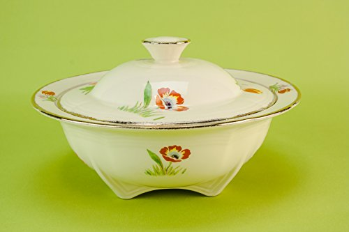 Small Vintage TUREEN Tulips Pottery Alfred Meakin Service Festive Art Deco Dinner Cream Kitchen Table English 1930s LS