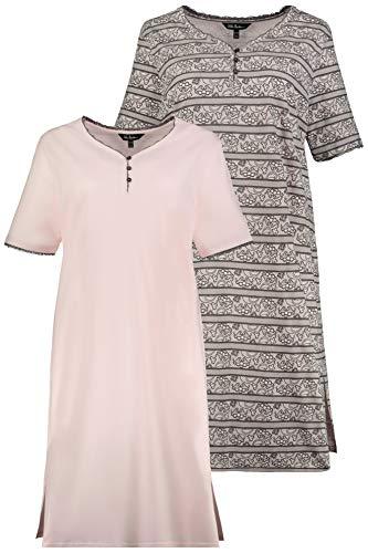 Ulla Popken Damen große Größen Big-Shirt 2er Pack, Spitzendruck Nachthemd, Rosa (Hellrosa 72793256), 46-48