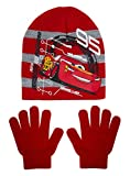 Disney Cars Stretch Beanie + Handschuhe Winter Set Jungen Lightning McQueen Zubehör Geschenk Gr. 54 cm, rot
