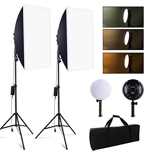 2700W Softbox Dauerlicht Fotostudio Set, SEDGEWIN Professional Photography Tageslicht Studioleuchten Kit mit 2M verstellbarem Ständer und dimmbarer 3200K-5500K-LED für Videofilmporträts (2 Pack)